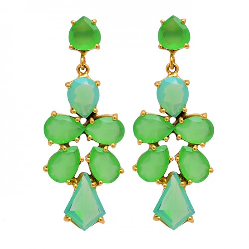 Prehnite Chalcedony Moonstone 925 Sterling Silver Gold Plated Stud Earrings