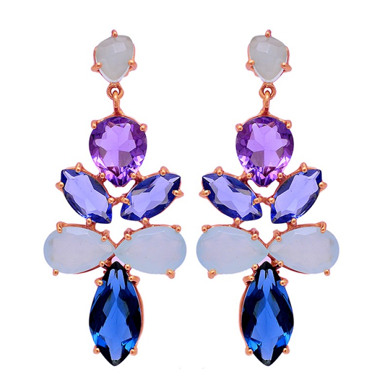 Amethyst Chalcedony Quartz Gemstone 925 Sterling Silver Gold Plated Stud Earrings