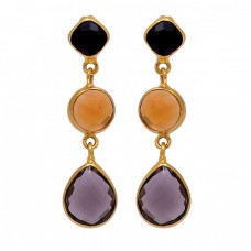 Citrine Onyx Smoky Quartz Gemstone 925 Sterling Silver Gold Plated Earrings