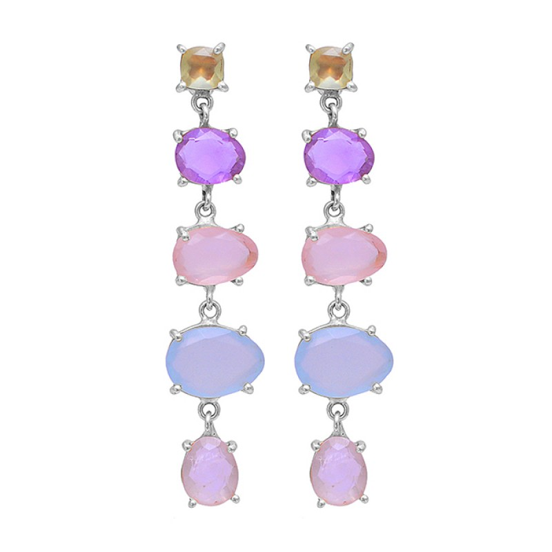 Amethyst Moonstone Chalcedony Gemstone 925 Silver Gold Plated Stud Earrings