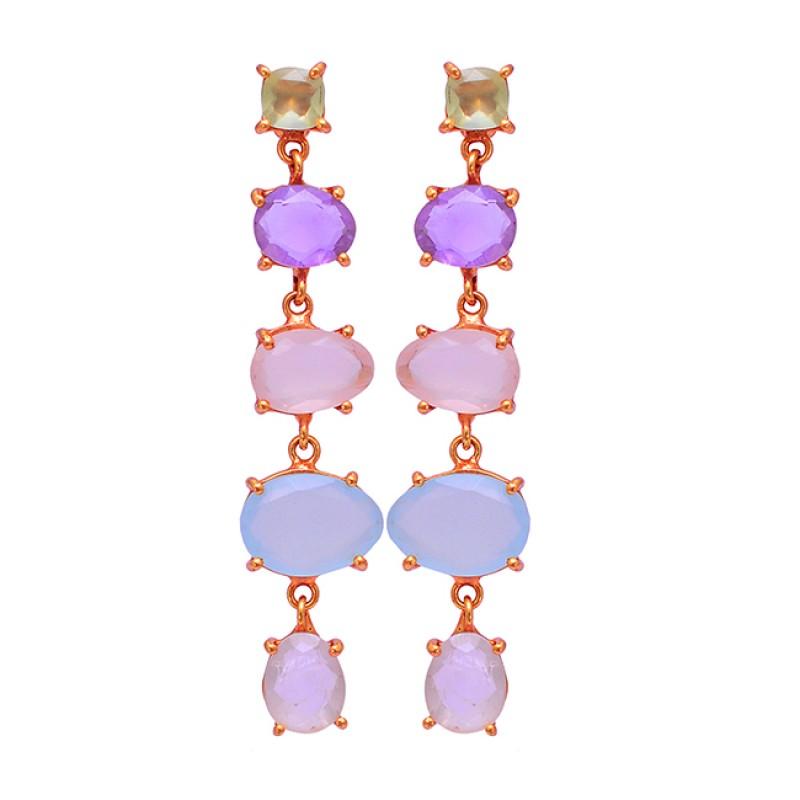 Amethyst Moonstone Chalcedony Gemstone 925 Silver Gold Plated Stud Earrings