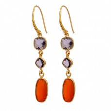Smoky Quartz Carnelian Gemstone 925 Sterling Silver Gold Plated Dangle Earrings