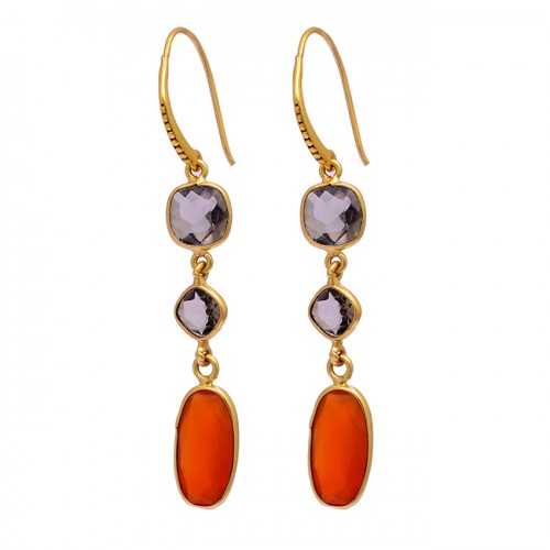 Smoky Quartz Carnelian Gemstone 925 Sterling Silver Gold Plated Dangle Earrings