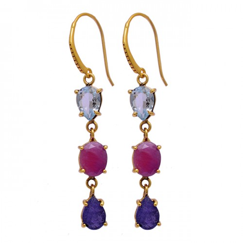 Blue Topaz Ruby Sapphire Gemstone 925 Sterling Silver Gold Plated Dangle Earrings