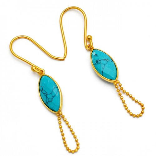 Cabochon Marquise Shape Turquoise Gemstone Stylish Chain Gold Plated Earrings