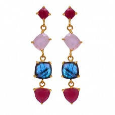 Ruby Chalcedony Labradorite Gemstone 925 Sterling Silver Gold Plated Earrings