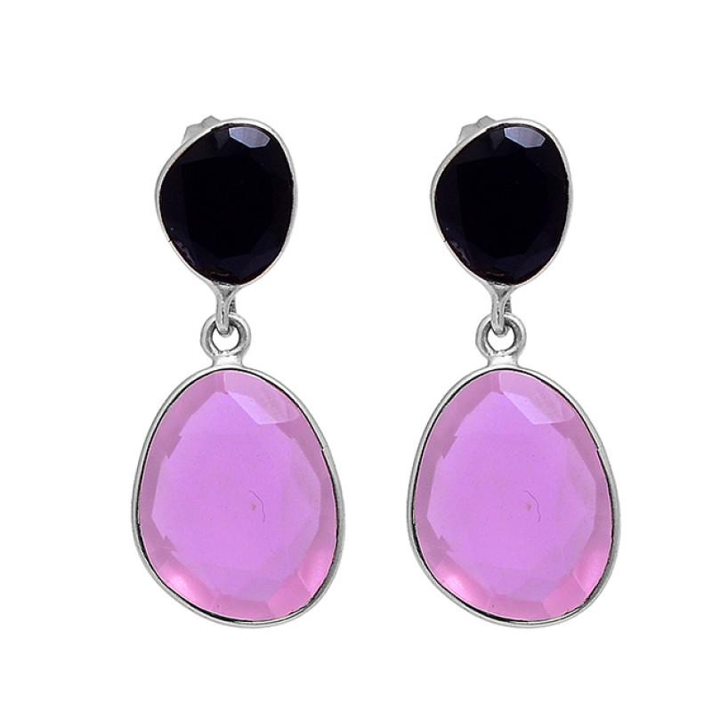 Black Onyx Chalcedony Gemstone 925 Sterling Silver Gold Plated Stud Earrings