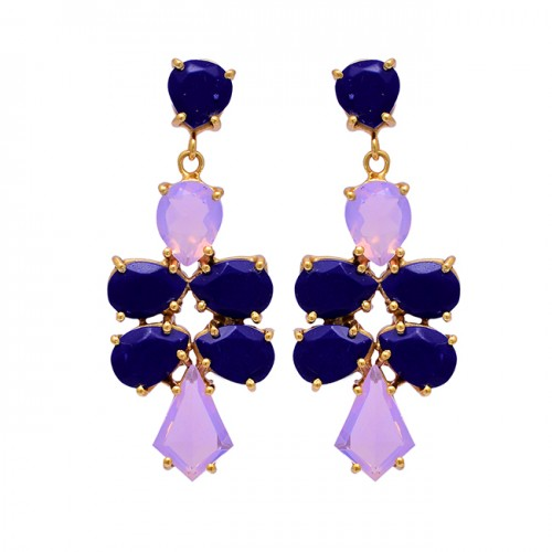 925 Sterling Silver Moonstone Sapphire Gemstone Gold Plated Stud Earrings