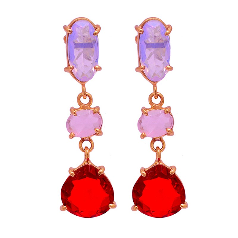 925 Sterling Silver Ruby Chalcedony Moonstone Gold Plated Stud Dangle Earrings