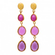 Oval Shape Ruby Chalcedony Amethyst Gemstone 925 Silver Gold Plated Earrings