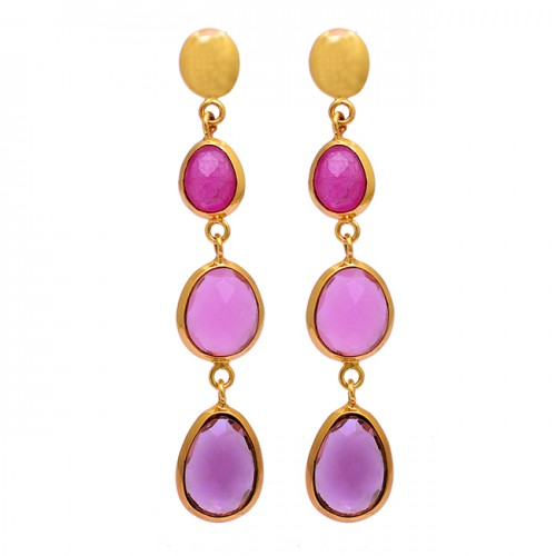 Oval Shape Ruby Chalcedony Amethyst Gemstone 925 Silver Gold Plated Earrings