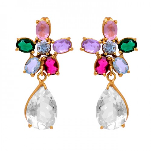 Handmade Designer Multi Color Gemstone 925 Silver Gold Plated Stud Earrings