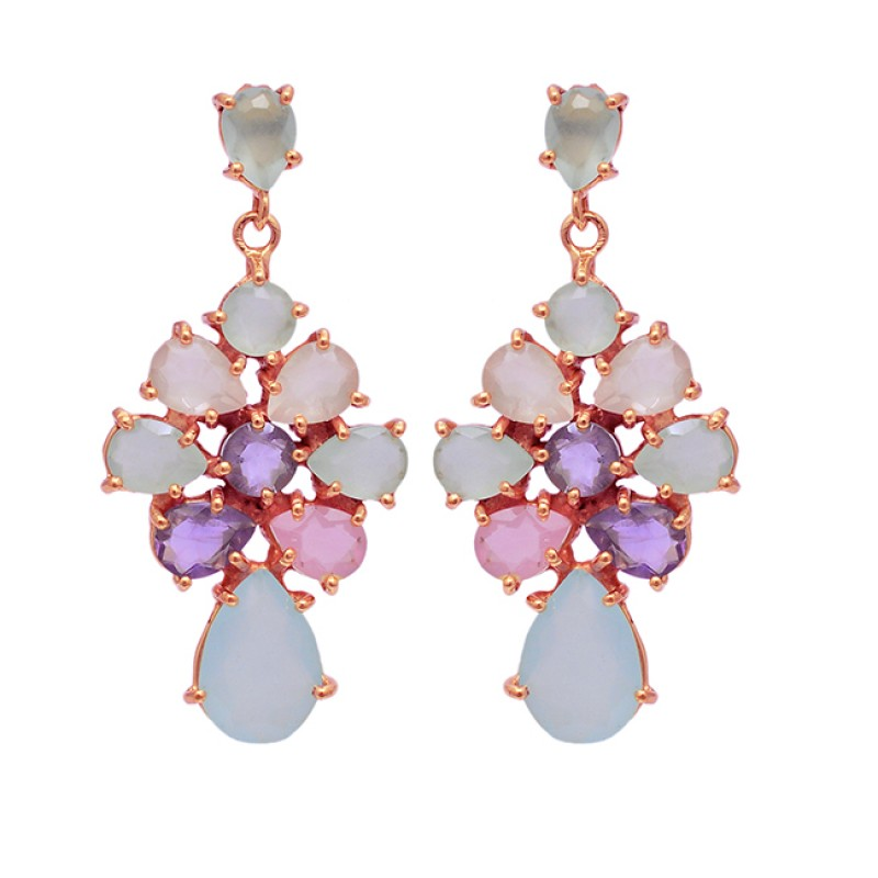 Amethyst Chalcedoy Rose Quartz Gemstone 925 Sterling Silver Gold Plated Earrings