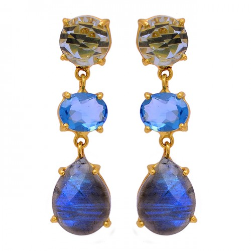 Labradorite Blue Topaz Gemstone 925 Sterling Silver Gold Plated Stud Earrings