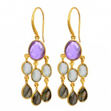 925 Sterling Silver Amethyst Chalcedony Labradorite Gemstone Gold Plated Earrings
