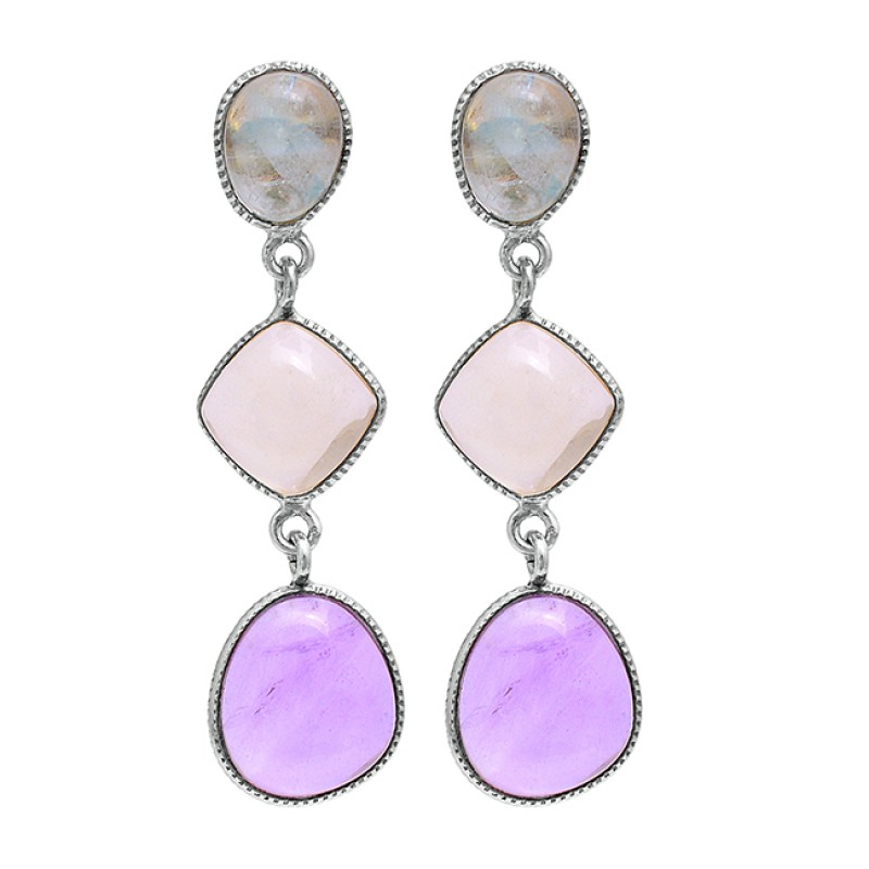Chalcedony Amethyst 925 Sterling Silver Gold Plated Stud Dangle Earrings