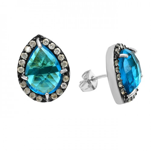 Pave Rainbow Moonstone Blue Topaz Gemstone 925 Sterling Silver Gold Plated Stud Earrings