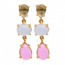 Blue Topaz Moonstone Chalcedony Gemstone 925 Silver Gold Plated Earrings