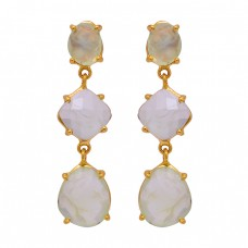 925 Sterling Silver Prehnite Chalcedony Gemstone Gold Plated Stud Earrings