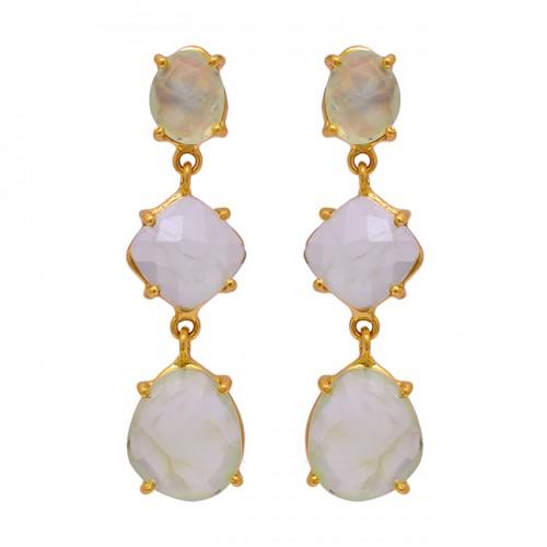 925 Sterling Silver Prehnite Chalcedony Gemstone Gold Plated Stud Earrings