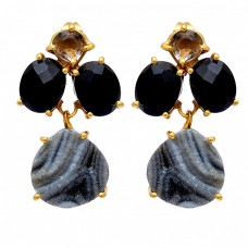 Black Onyx Crystal Quartz Druzy Gemstone 925 Sterling Silver Gold Plated Earrings