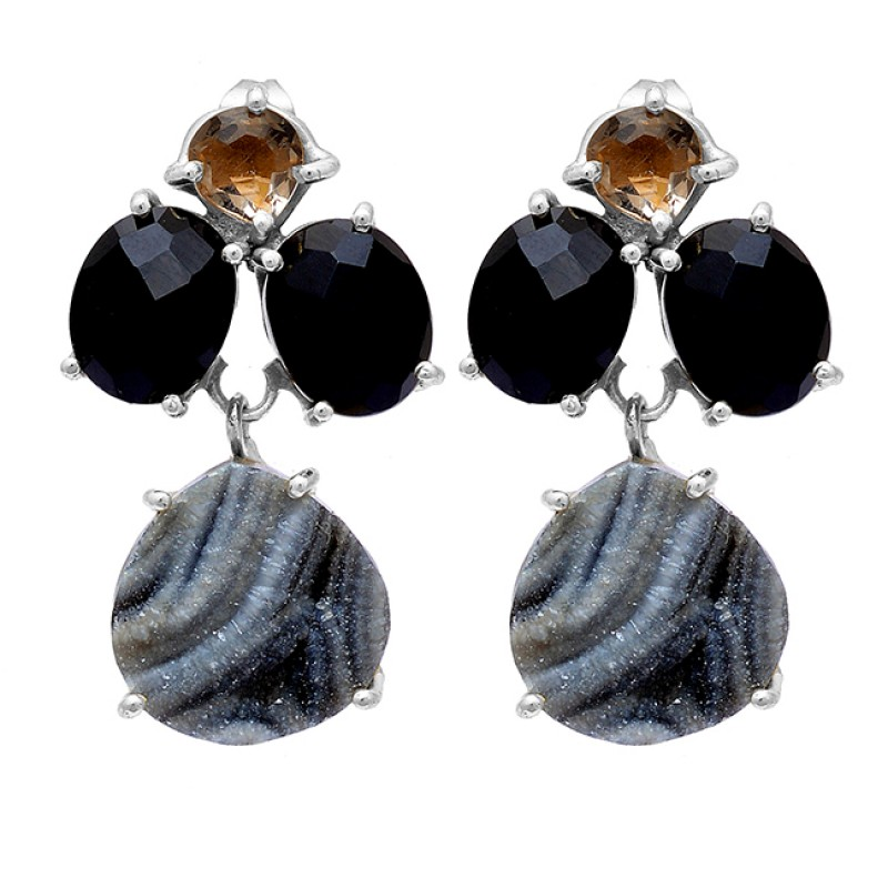 Black Onyx Crystal Quartz Druzy Gemstone 925 Sterling Silver Gold Plated Earrings