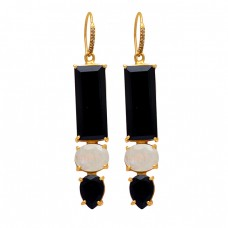 925 Sterling Silver Black Onyx Rainbow Moonstone Gold Plated Dangle Earrings
