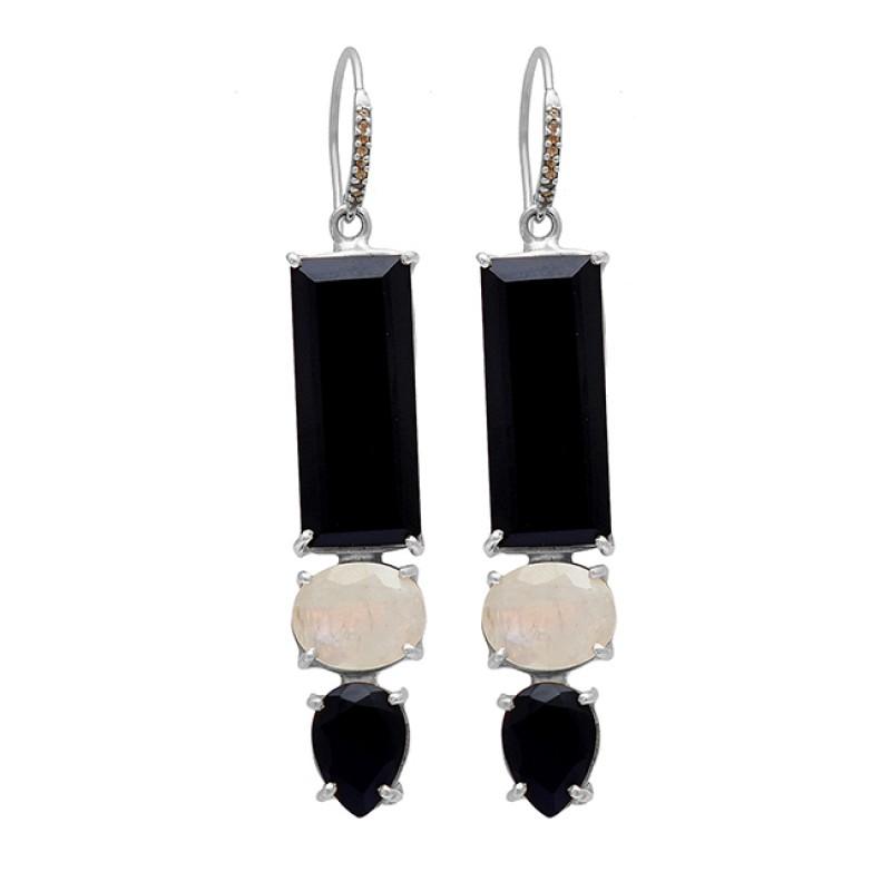 925 Sterling Silver Black Onyx Rainbow Moonstone Gold Plated Dangle Earrings