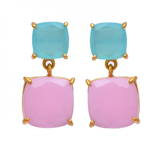 Aqua Rose Color Chalcedony Gemstone 925 Sterling Silver Gold Plated Earrings