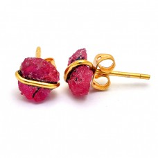 Ruby Rough Gemstone 925 Sterling Silver Gold Plated Handmade Stud Earrings