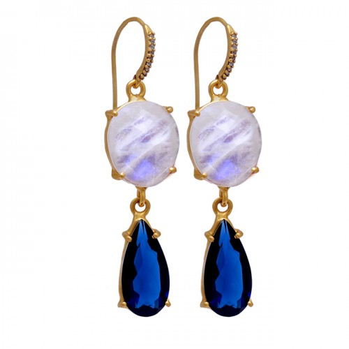 Rainbow Moonstone Tanzanite Gemstone 925 Sterling Silver Gold Plated Earrings