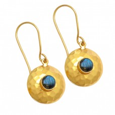 Round Shape Labradorite Gemstone 925 Sterling Silver Gold Plated Earrings