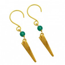 Balls Shape Green Onyx Gemstone Handmade Gold Plated Silver Dangle Earrings