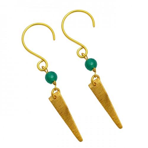 Balls Shape Green Onyx Gemstone Handmade Gold Plated Silver Dangle Earrings