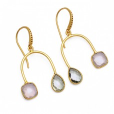 Rose Quartz Green Amethyst Gemstone 925 Sterling Silver Gold Plated Earrings