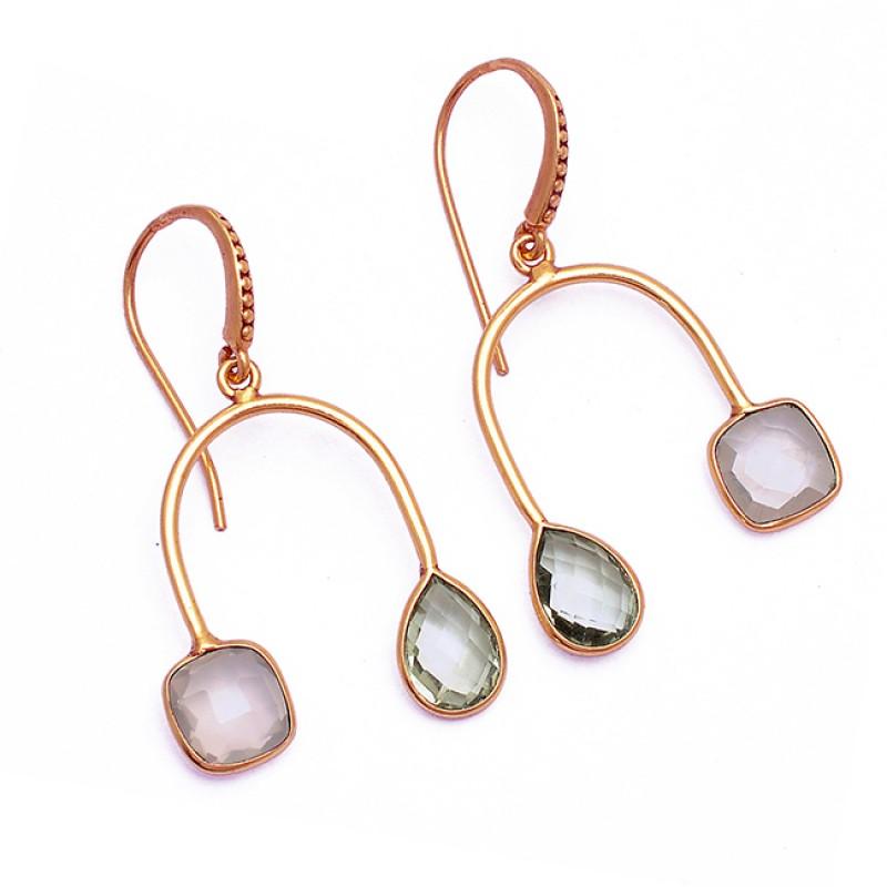 Rose Quartz Green Amethyst Gemstone 925 Sterling Silver Gold Plated Earrings