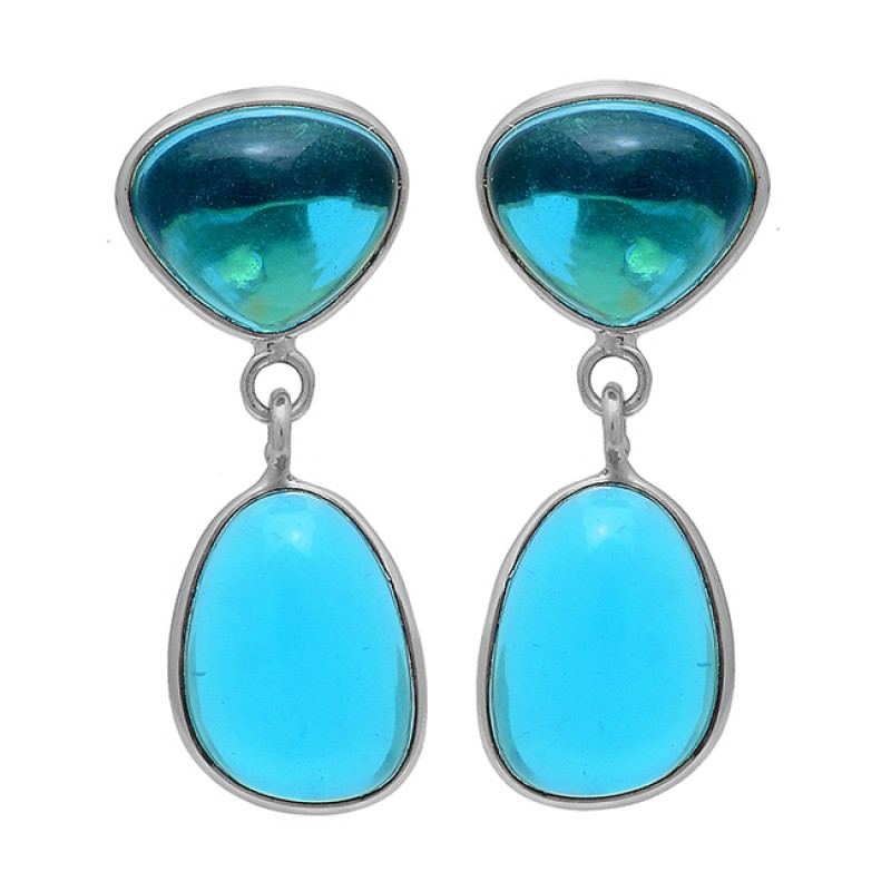 Blue Quartz Turquoise Gemstone 925 Sterling Silver Gold Plated Stud Earrings