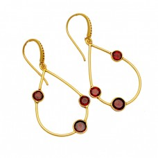 Round Shape Garnet Gemstone 925 Sterling Silver Gold Plated Dangle Earrings