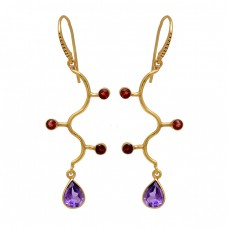 Amethyst Garnet Gemstone 925 Sterling Silver Gold Plated Dangle Earrings