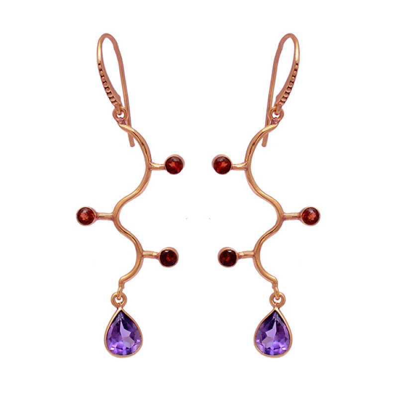 Amethyst Garnet Gemstone 925 Sterling Silver Gold Plated Dangle Earrings