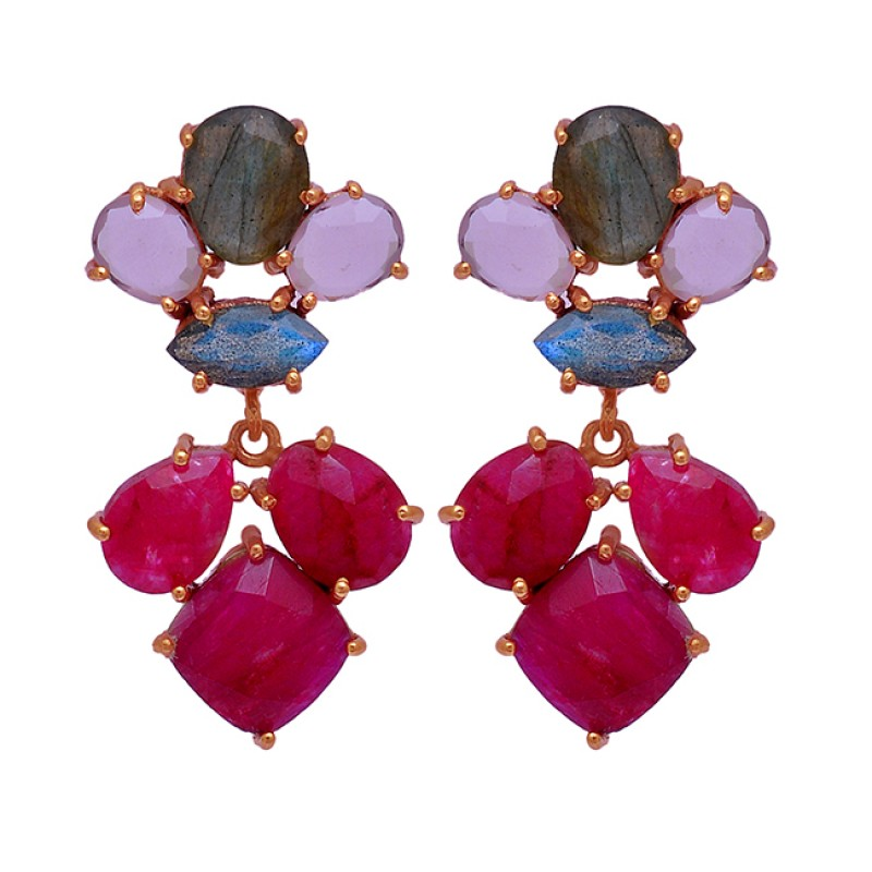 Ruby Labradorite Chalcedony Gemstone 925 Sterling Silver Gold Plated Earrings