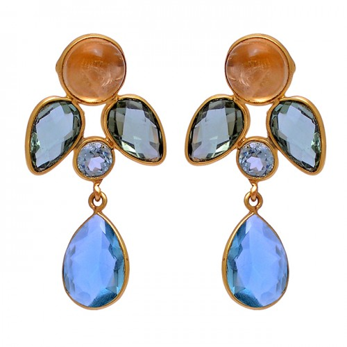 925 Sterling Silver Round Pear Shape Gemstone Gold Plated Stud Dangle Earrings