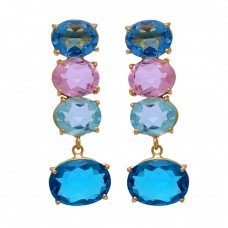 Apatite Topaz Quartz Gemstone 925 Sterling Silver Gold Plated Stud Dangle Earrings