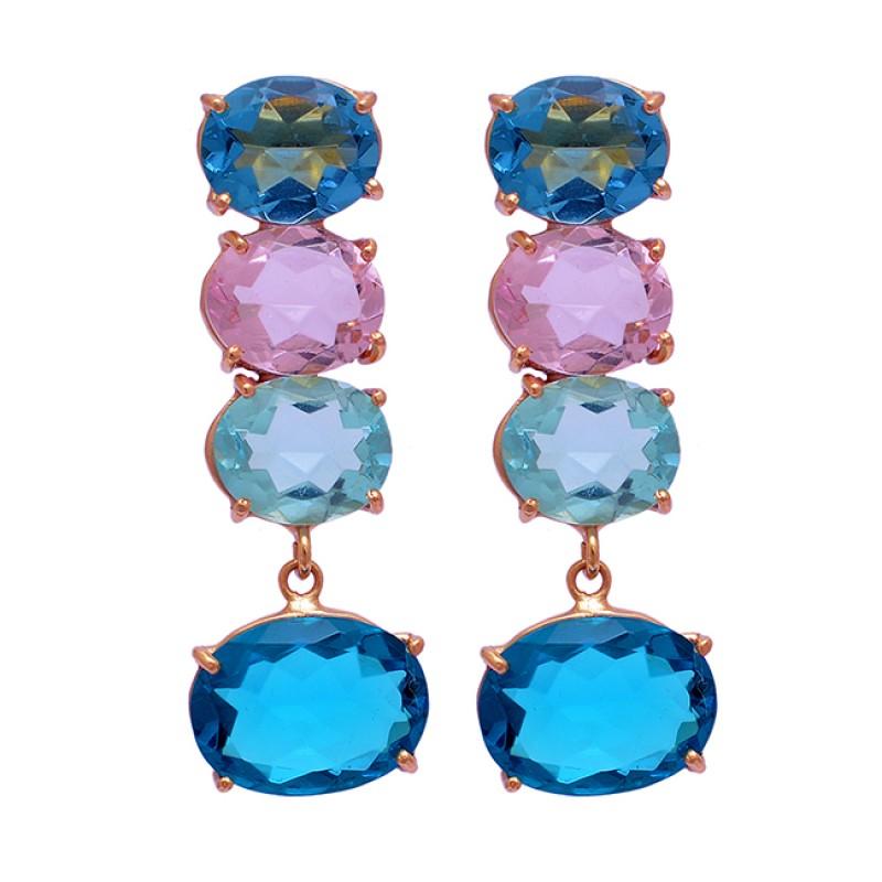 Apatite Topaz Quartz Gemstone 925 Sterling Silver Gold Plated Stud Dangle Earrings
