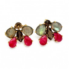 Smoky Quartz Labradorite Ruby Gemstone 925 Sterling Silver Gold Plated Earrings