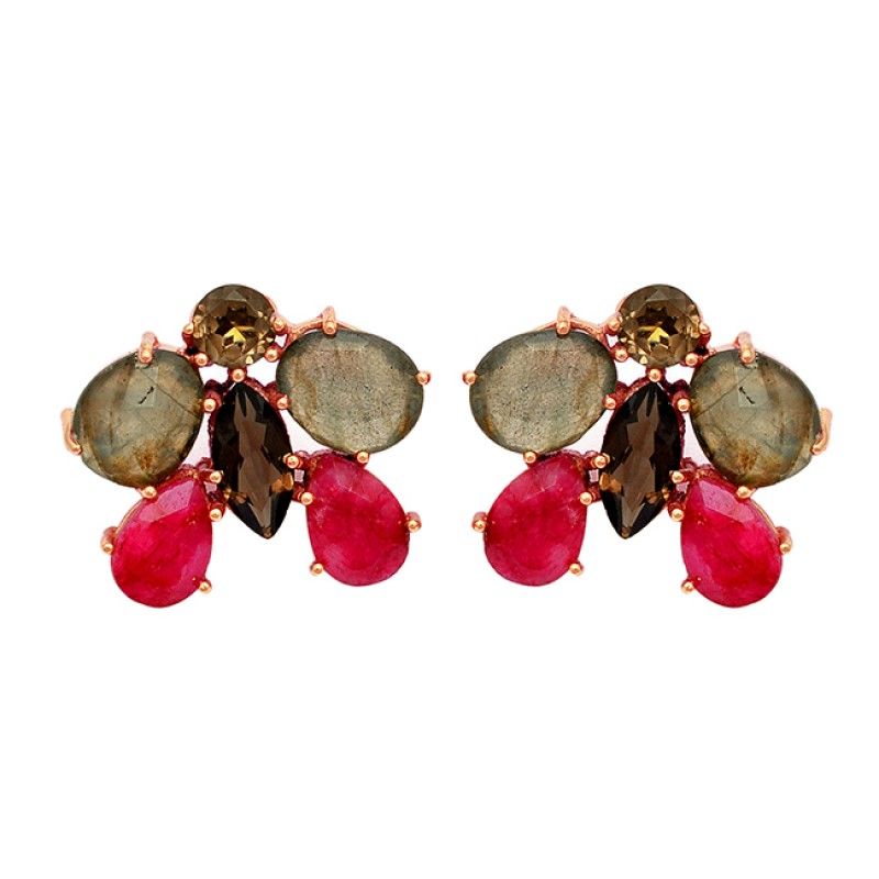 Smoky Quartz Labradorite Ruby Gemstone 925 Sterling Silver Gold Plated Earrings