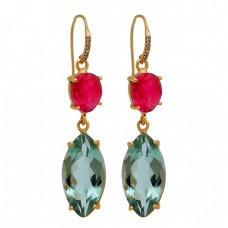 Ruby Green Amethyst Gemstone 925 Sterling Silver Gold Plated Dangle Earrings