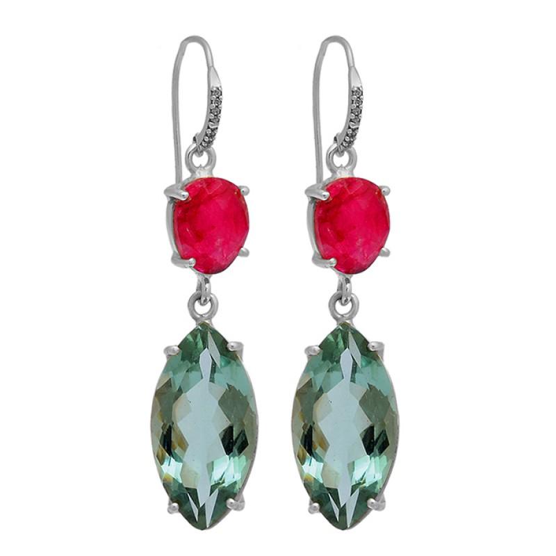 Ruby Green Amethyst Gemstone 925 Sterling Silver Gold Plated Dangle Earrings