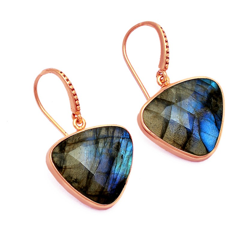 Triangle Shape Labradorite Gemstone 925 Sterling Silver Gold Plated Earrings