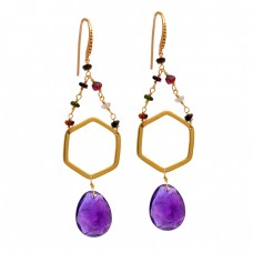 Amethyst Tourmaline Gemstone 925 Sterling Silver Gold Plated Dangle Earrings